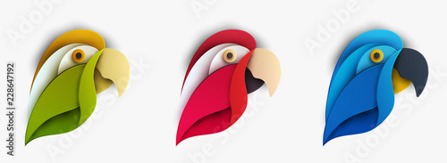 Vászonkép Set of colorful cartoon exotic parrot bird in trendy paper cut craft graphic style