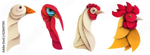 Fotografía  Set of cartoon farm bird in trendy paper cut craft graphic style