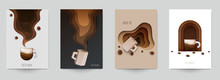 Set Of Coffee Composition In M...