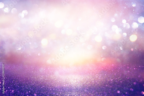 Plakaty fioletowe  glitter-vintage-lights-background-silver-purple-and-light-gold-de-focused