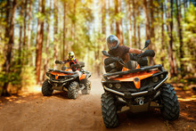 Two Atv Riders, Speed Race In ...