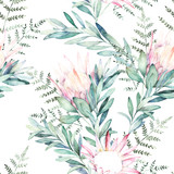 Watercolor seamless pattern witn eucalyptus branch, protea and fern. Hand drawn illustration. Floral background - 228652389