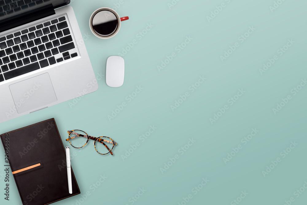 Fototapeta Topview of working business desktop.
