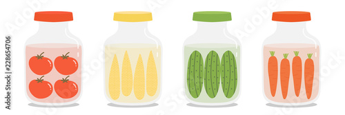 Photographie Set, collection of pickles jars with different vegetables, tomatoes, corns, cucumbers and carrots in cartoon style