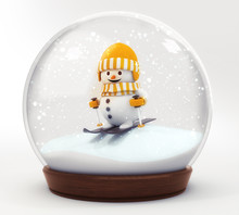 Happy Snowman With Ski In Snowball Decoration Isolated On White Background,glass Ball Winter Seasonal Christmas Decoration 3d Illustration Render