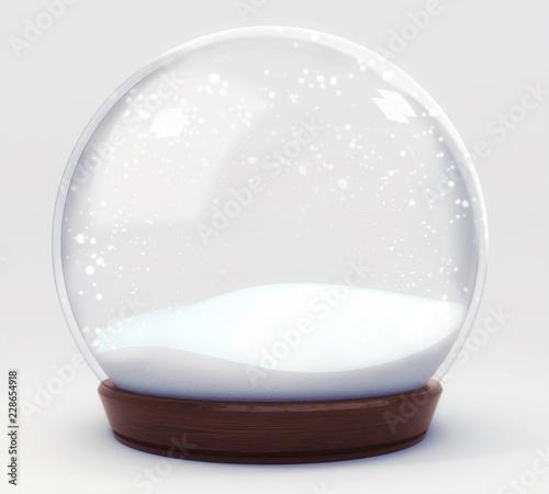 Fotografie, Obraz empty snowball decoration isolated on white background, glass ball winter season