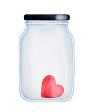 Red Heart In A Jar Water Color...