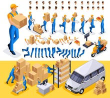 Isometric Set 6 Create Your Character, Courier, Man From The Delivery Service. Set Of Gestures Of Hands, Feet, Emotions Of The Character, A Set Of Different Hairstyles