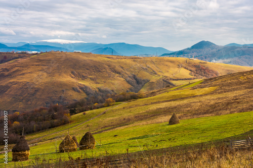 In de dag Zuid-Amerika land haystacks on the rural fields. lovely countryside scenery in mountains. distant mountain with snowy top under the overcast november sky
