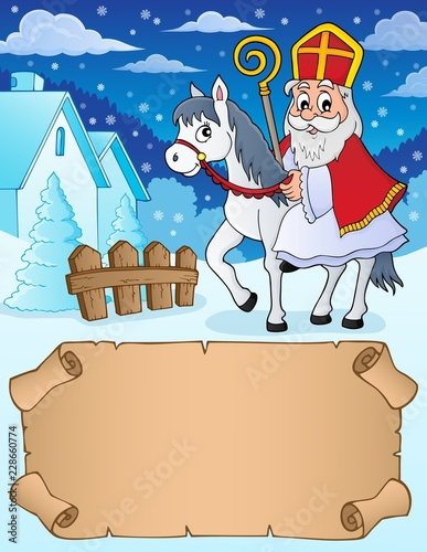 Small parchment and Sinterklaas on horse