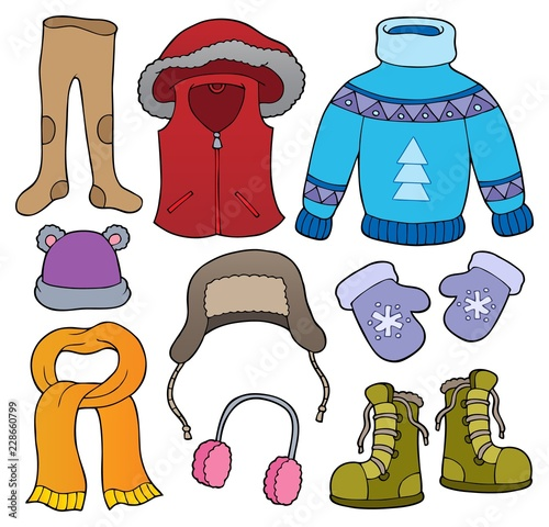 Montage in der Fensternische Für Kinder Winter clothes topic set 2