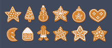 Gingerbread Cookies Set On Dar...
