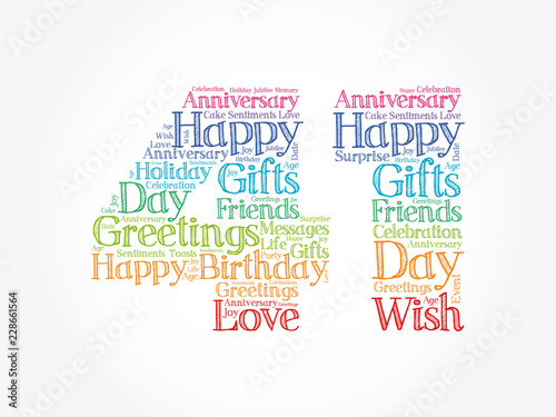 Fotografia  Happy 41st birthday word cloud collage concept