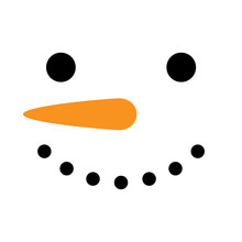 Cute Simple Snowman Vector Illustration. Snowman Face, Head, Square Icon, Isolated On White Background.