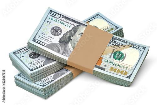 New US Dollar bills bundles stack on white background