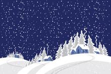 Vector Winter Night Landscape ...