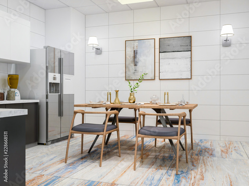 Modern Kitchen And Dining Room Design Renderings Solid Wood Table Cabinets Refrigerator
