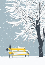 Vector Winter Landscape With A Lonely Cat On A Yellow Bench In The Park Under A Snow-covered Tree. Snowy Winter Illustration