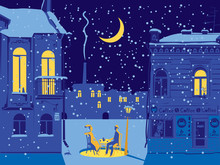 Vector Winter Cityscape With Snow-covered Street Of The Old Town. Street Cafe With A Couple In Love On A Moonlit Night. Romantic Scene