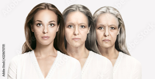 Obraz Comparison. Portrait of beautiful woman with problem and clean skin, aging and youth concept, beauty treatment and lifting. Before and after concept. Youth, old age. Process of aging and rejuvenation - fototapety do salonu