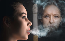Concept - Harm From Smoking. Collage About Aging Of Young Woman From Cigarette. Comparison. Portrait Of Beautiful Girl With Problem And Clean Skin. The Healthy Lifestyle Concept