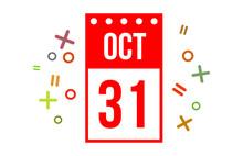 31 October Red Calendar Number