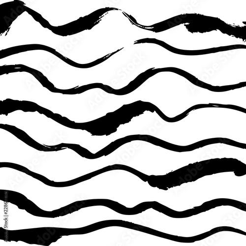 Fotografie, Obraz  Wavy black hand drawn  lines on white background vector pattern.