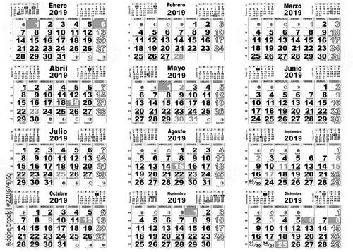 Calendario Santoral 2019.Calendario 2019 Santos Espana Comprar Este Vector De Stock Y