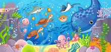 Cute Cartoon Animals Underwate...