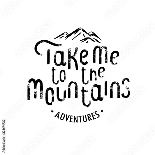 Take me to the mountains Vintage Stylized Logo Canvas Print