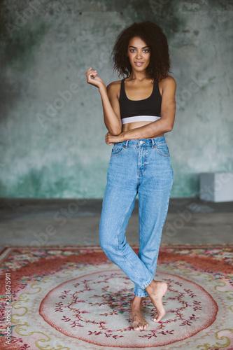 Terrific Beautiful African American Girl With Dark Curly Hair In Black Natural Hairstyles Runnerswayorg