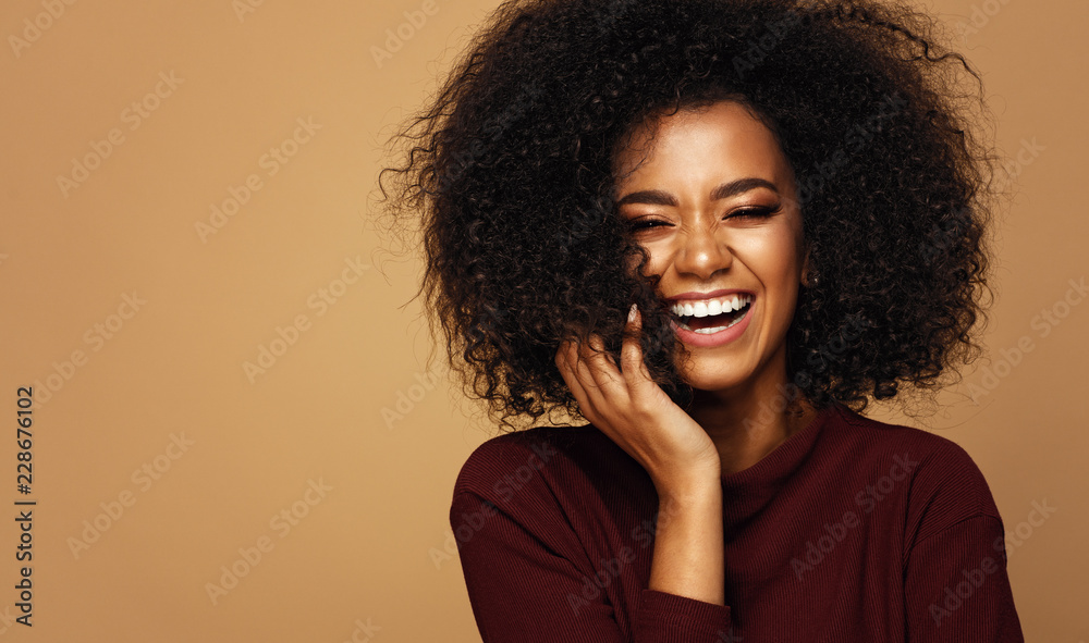 Fototapety, obrazy: Portrait of laughing african american girl with copy space