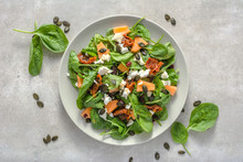 Fresh Vegetable Salad On Bright Background, Healthy Diet Concept