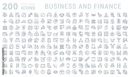 Fototapeta Set Vector Line Icons of Business and Finance. obraz