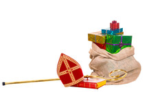 Mitre Or Miter And Sack With Gifts Of Saint Nicholas. Dutch Sinterklaas
