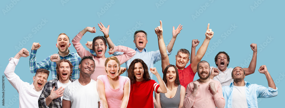 Fototapeta Collage of winning success happy men and women celebrating being a winner. Dynamic image of caucasian male and female models on blue studio background. Victory, delight concept. Human facial emotions