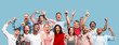 canvas print picture - Collage of winning success happy men and women celebrating being a winner. Dynamic image of caucasian male and female models on blue studio background. Victory, delight concept. Human facial emotions