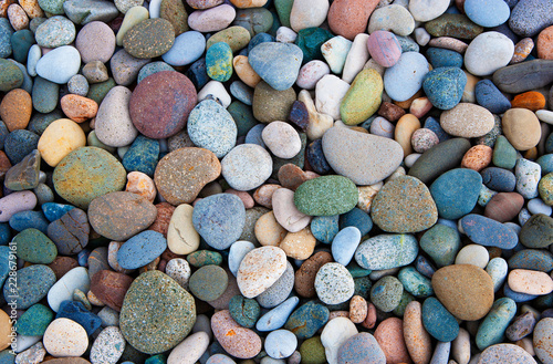 Colorful pebbles, full frame - 228679161