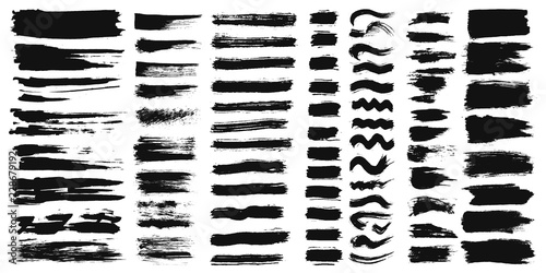 Fotografie, Tablou Set of different ink paint brush strokes isolated on white background