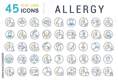 Set Vector Line Icons of Allergy. Wallpaper Mural