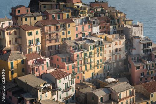Scenic view of colorful village Manarola and ocean coast in Cinque Terre, Italy Wallpaper Mural