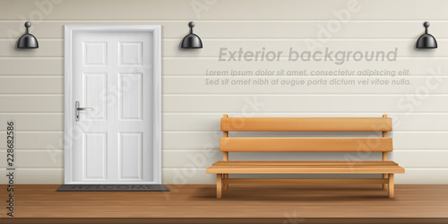 Swell Vector Realistic Exterior Background With Veranda Facade Uwap Interior Chair Design Uwaporg