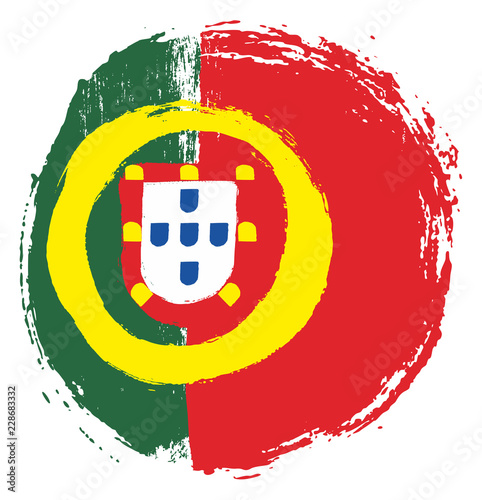 Portugal Circle Flag Vector Hand Painted with Rounded Brush