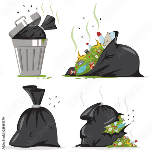 Photo Trash can and black bag with plastic and food waste