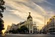 Panorama cittadino spagnolo. Skyline al tramonto