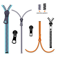Set Fashion Elements. Basic Plastic Zipper. Open And Closed Lock. Repeating Element. Fastener Vector. Zipper For Cloth Isolated On White Background.