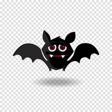 Funny Cartoon Bat With Fangs And Red Eyes On Transparent Background.