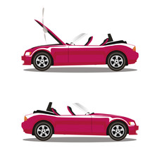 Vector Set Of Broken Cartoon Pink Cabriolet Sport Car Before And After Crash Isolated On White