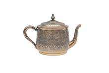 Vintage Silver Teapot On White...