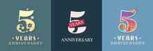 5 Years Anniversary Celebration Set Of Vector Icon, Logo